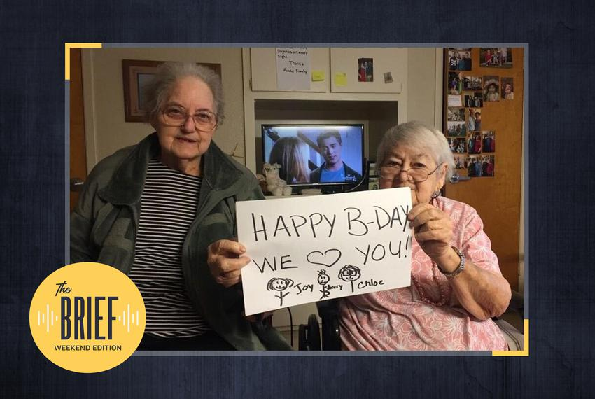 Joy Arnold, left, and Chloe Millard sent a photo to family from inside a Bryan nursing home in June 2019.