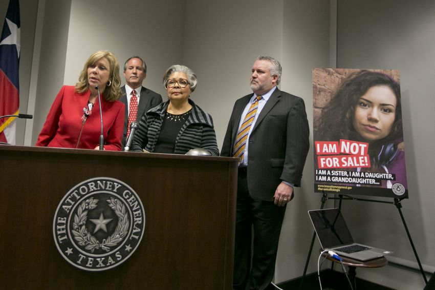 Texas Attorney General Ken Paxton, Rep. Senfronia Thompson D-Houston and Sen. Joan Huffman R-Houston during a press conference on Jan 12, 2017.