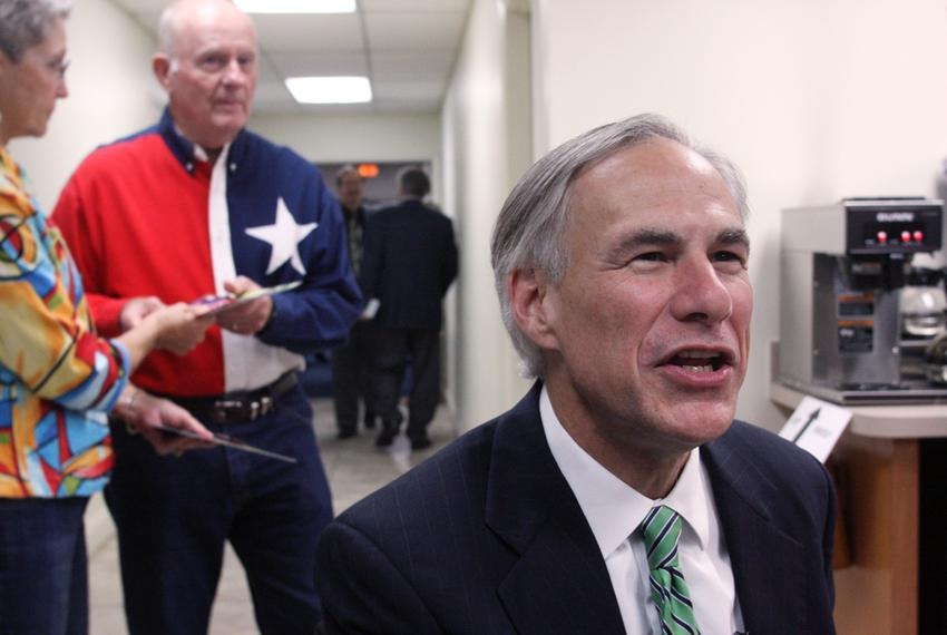 Texas Attorney General Greg Abbott speaking before a NE Tarrant Tea Party meeting at the Concordia Lutheran Church in Bedfor…