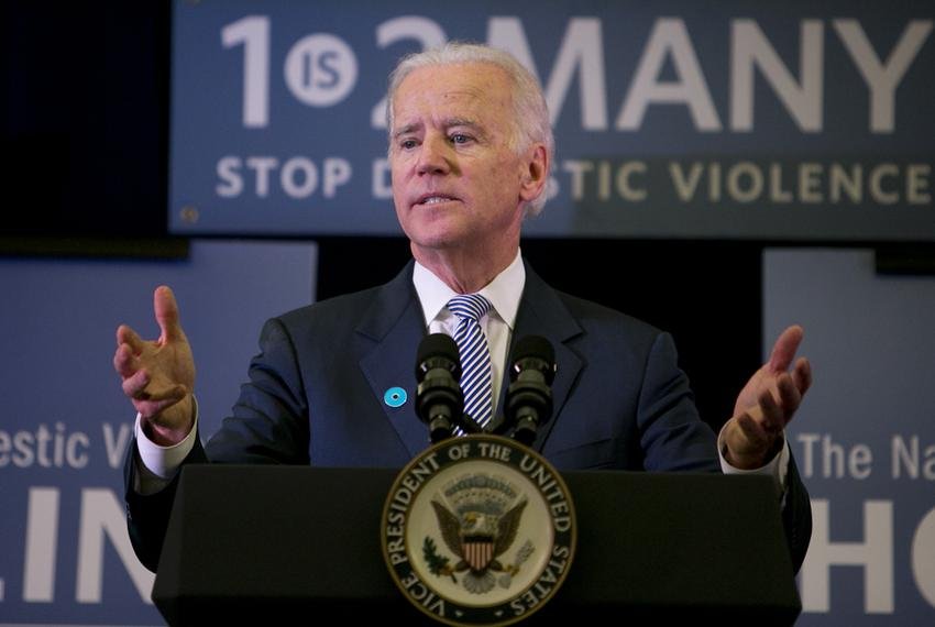 U.S. Vice President Joe Biden visits the National Domestic Violence Hotline headquarters in Austin in October 2013 to commem…
