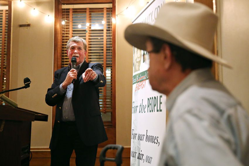 Former state Rep. Lon Burnam, a candidate for the Texas Railroad Commision, thanks Jim Hightower at his campaign kickoff at Scholz Garten on January 28, 2016.