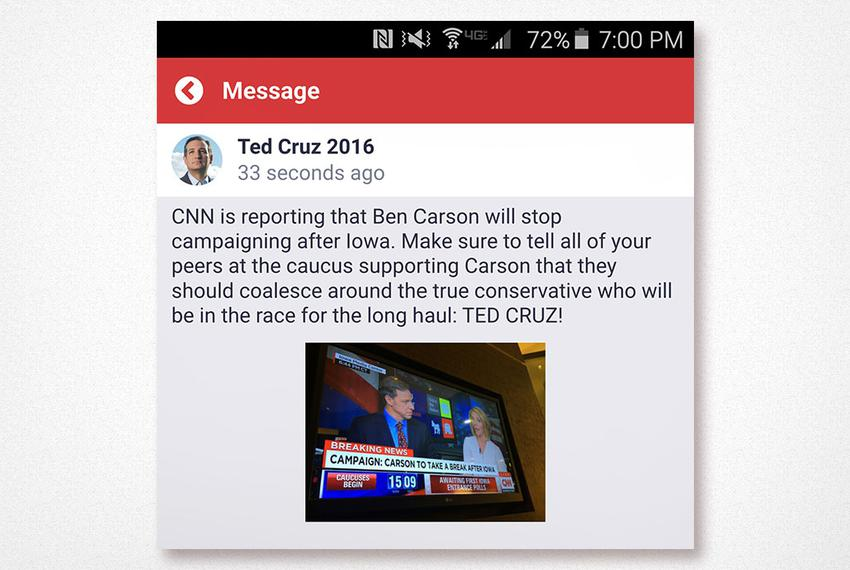 A screenshot of a push notification Ted Cruz's campaign sent to users of its campaign app around the time the Iowa caucuses …