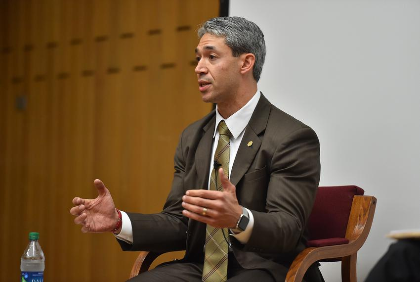 Ron Nirenberg at the Mayoral Forum on Environmental and Social Justice Issues at Trinity University's Chapman Center on Marc…