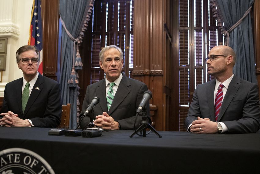From left: Lt. Gov. Dan Patrick, Gov. Greg Abbott and House Speaker Dennis Bonnen speak at a joint press conference addressing property tax reform. Jan 31, 2019.