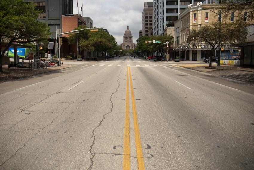 Downtown Austin with considerably less traffic during the coronavirus outbreak on March 23, 2020.