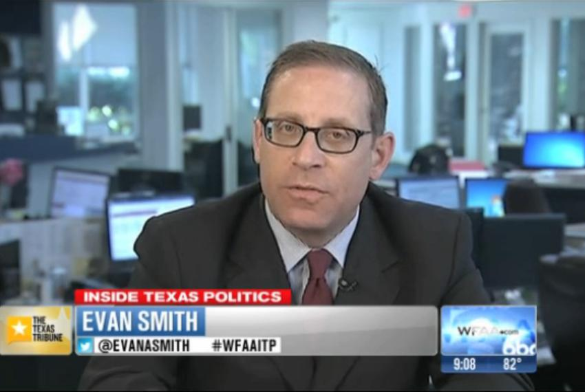 """Texas Tribune CEO and Editor-in-Chief Evan Smith on WFAA-TV's """"Inside Texas Politics"""" on August 10, 2014."""