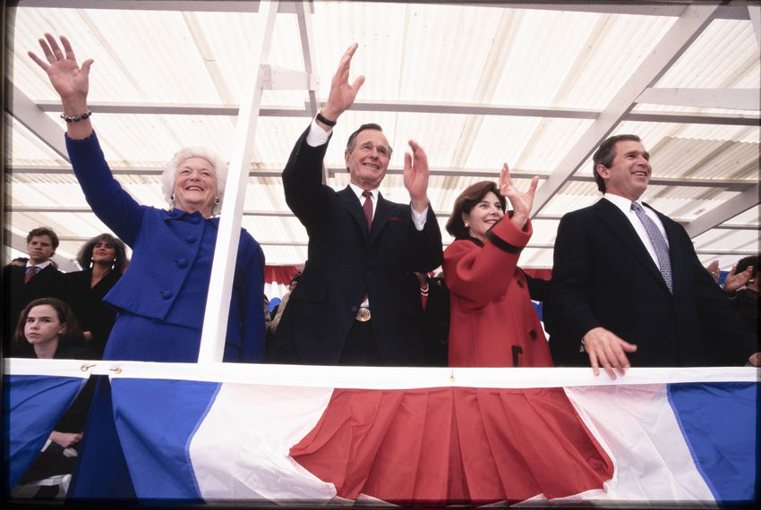 President George H.W. Bush and family at his son George W. Bush's second gubernatorial inaugural parade on Congress Avenue in Austin in January, 1999.