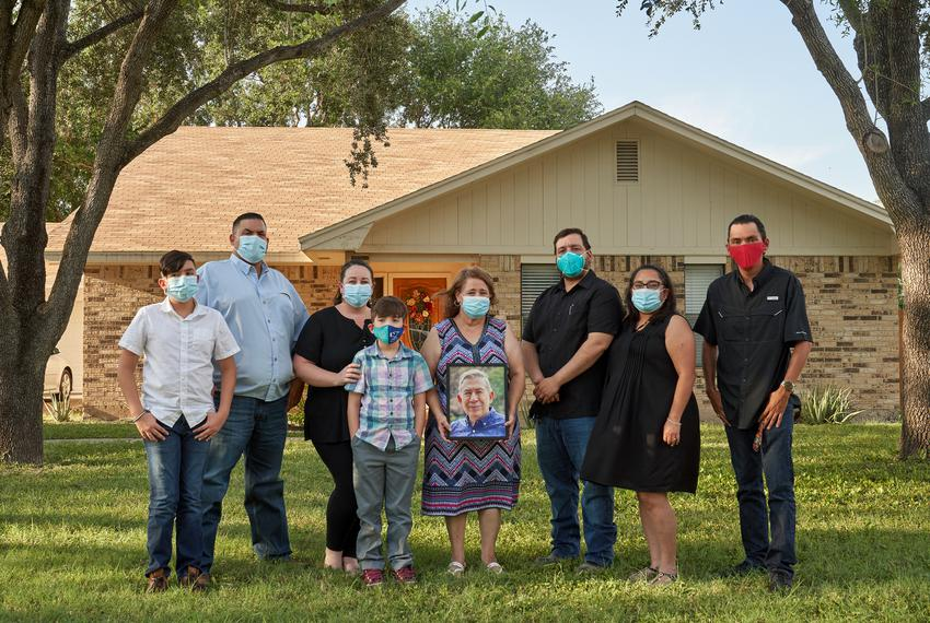"The family members of Adolfo ""Fito"" Alvarado Jr. at their home in Mission."