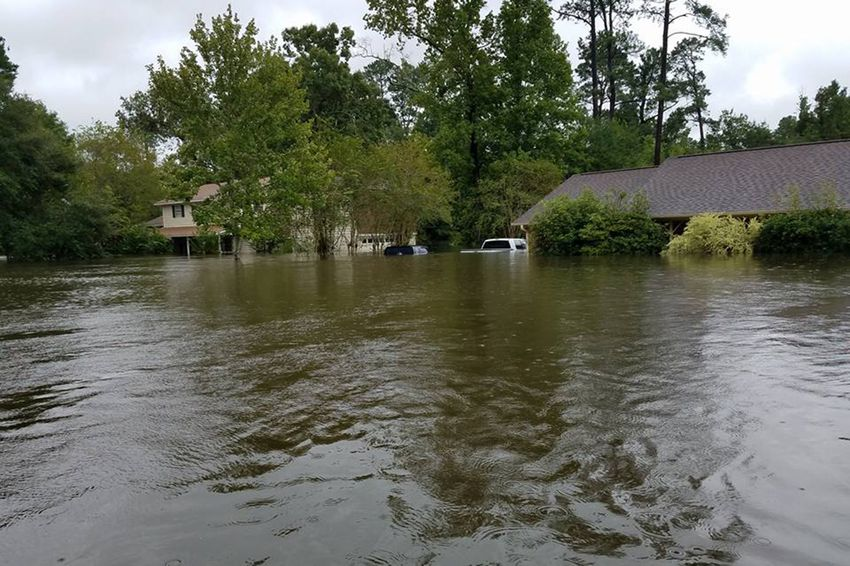 Extensive flooding in the Pinewood subdivision in Sour Lake, west of Beaumont, on Aug.30, 2017.
