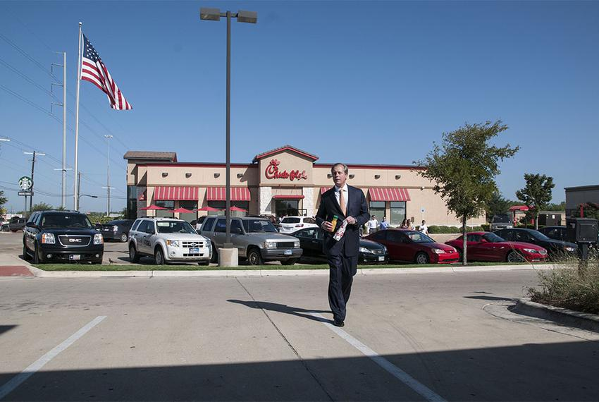 Lt. Gov. David Dewhurst at a campaign stop outside a Chick-fil-A restaurant in Austin on July 30, 2012.