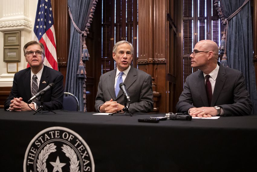 Lt. Gov. Dan Patrick, Gov. Greg Abbott and House Speaker Dennis Bonnen speak at a press conference regarding property taxes Friday.