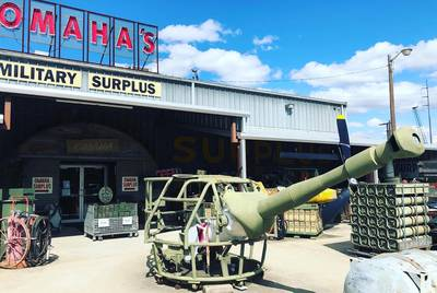 The back entrance of Omaha's Military Surplus, a store that has lost business due to the construction of the Panther Island project in Fort Worth.