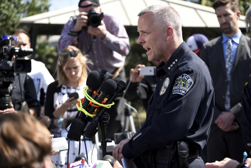 Police chief Brian Manley speaks during a news conference in Austin on March 12, 2018.