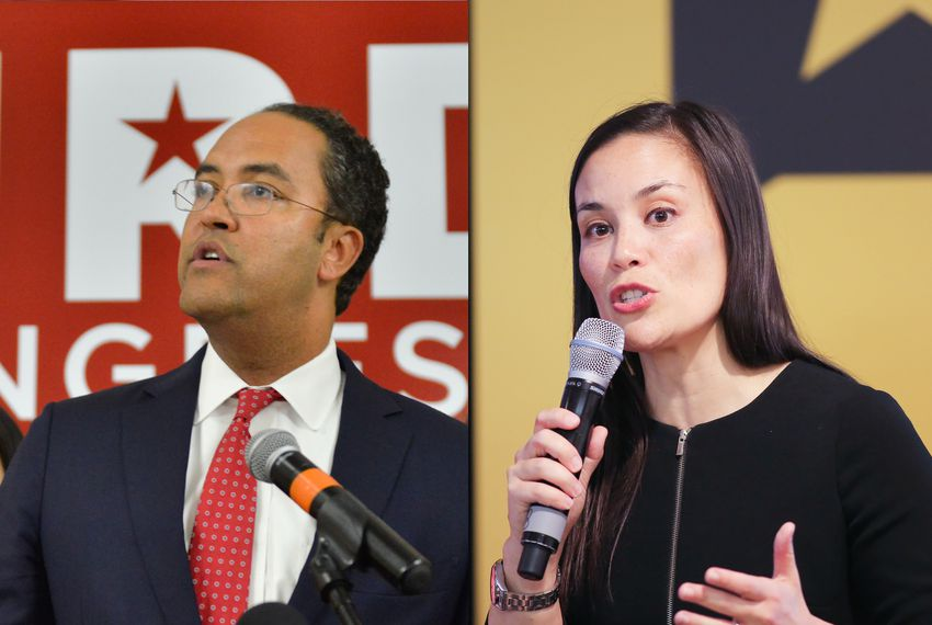 Left: U.S. Rep. Will Hurd, R-Helotes. Right: Gina Ortiz Jones, the Democratic nominee challenging Hurd.