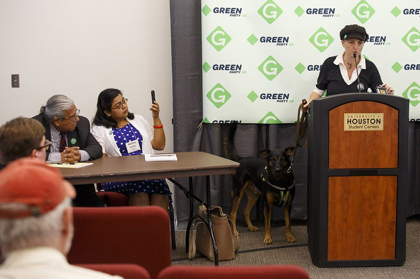 Green Party Secretary of State Katija Gruene, right, speaks about Texas Green Party Railroad Commissioner candidate Martina Salinas, center,  and Texas Supreme Court candidate Rodolfo Rivera Munoz, left, at a press conference during the Green Party Presidential Convention in Houston on Friday, August 5, 2016.