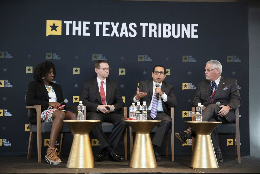 Left to right: moderator and Texas Tribune public education reporter Aliyya Swaby, Texas Education Commissioner Mike Morath, State Rep. Diego Bernal, D-San Antonio and State Rep. Dan Huberty, R-Houston, discuss public education at the Tribune's daylong symposium previewing the 86th legislative session, on Nov. 29, 2018.