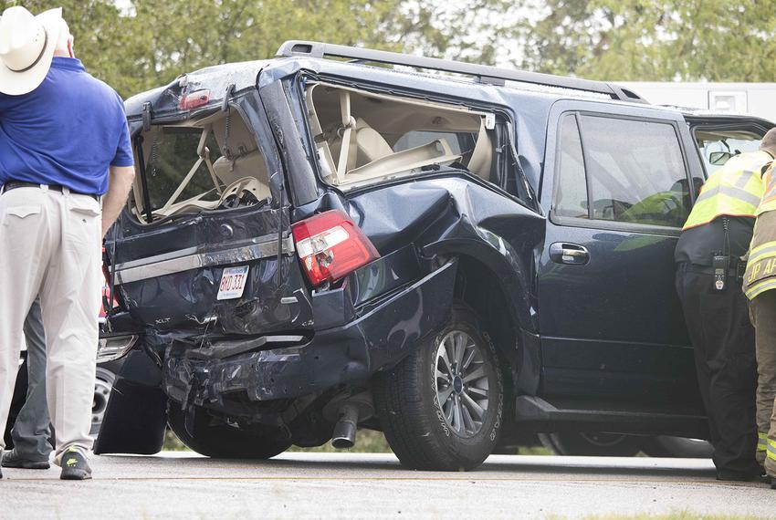 The remnants of an SUV wrecked in a car accident on Sept. 21, 2017 during a U.S. Department of Agriculture tour of Harvey-da…