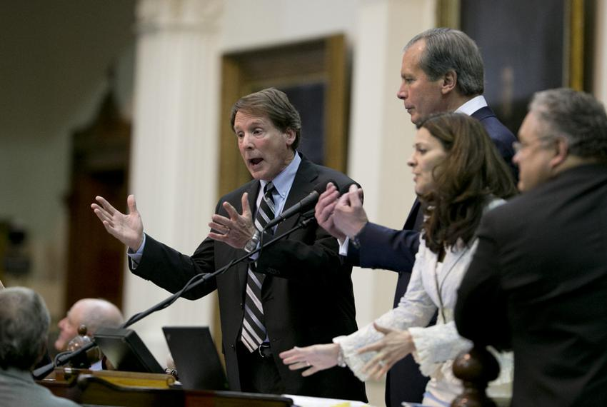 Sen. Robert Duncan, R-Lubbock, l, and Lt. Gov. David Dewhurst appeal for order as the Senate chamber erupted into chaos just…