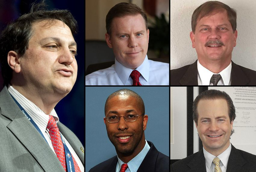 Four declared candidates are vying to replace Texas GOP chairman Steve Munisteri (clockwise from top left): Dallas County GOP chairman Wade Emmert, Texas GOP treasurer Tom Mechler, Republican National Committeeman Robin Armstrong and Jared Woodfill, former chairman of the Harris County Republican Party.