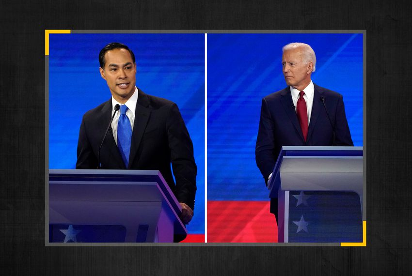 Former Housing Secretary Julián Castro (left) and former Vice President Joe Biden at the 2020 Democratic U.S. presidential debate in Houston.