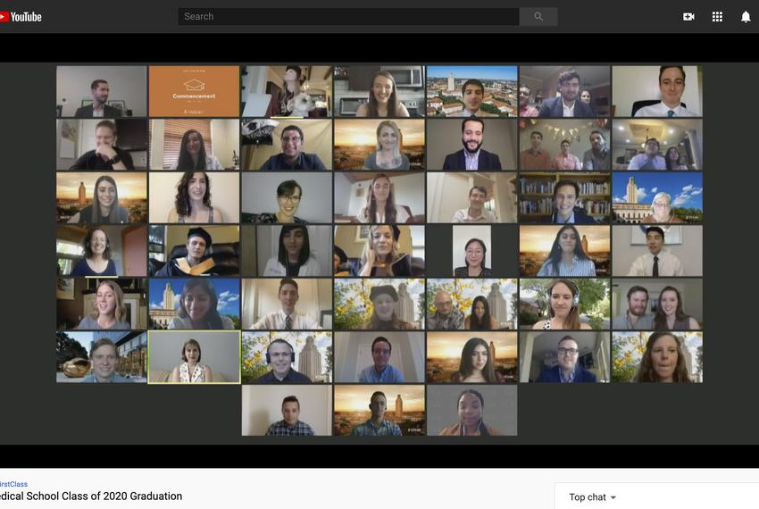 The 2020 graduating class of the Dell Medical School at the University of Texas at Austin virtually recite the Hippocratic o…
