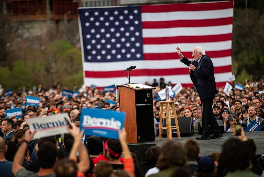 Democratic presidential candidate Bernie Sanders speaks at his campaign rally in Austin on Feb. 23, 2020.