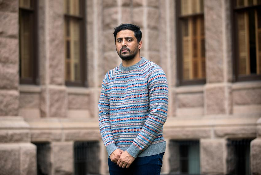Zohaib Qadri poses for a portrait at the Texas Capitol on April 16, 2021.