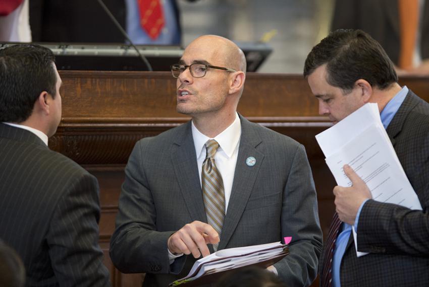 Texas House Ways and Means Chairman Dennis Bonnen, R-Angleton, talks over amendments to border security legislation on Mar...