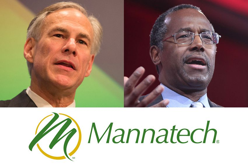 When he was Texas attorney general, Gov. Greg Abbott (l) sued nutritional supplement supplier Mannatech for deceptive trade practices and won a $7 million settlement. GOP presidential candidate Ben Carson (r) gave four paid speeches for the company.