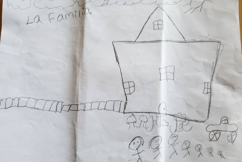 A drawing by a child who was separated from his mother at the Texas-Mexico border in May. The child and his siblings are at a shelter in Arizona.