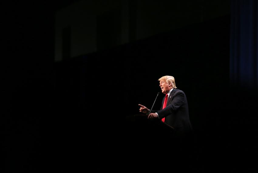 Donald Trump speaks at a rally at the Forth Worth Convention Center on Feb. 26, 2016.