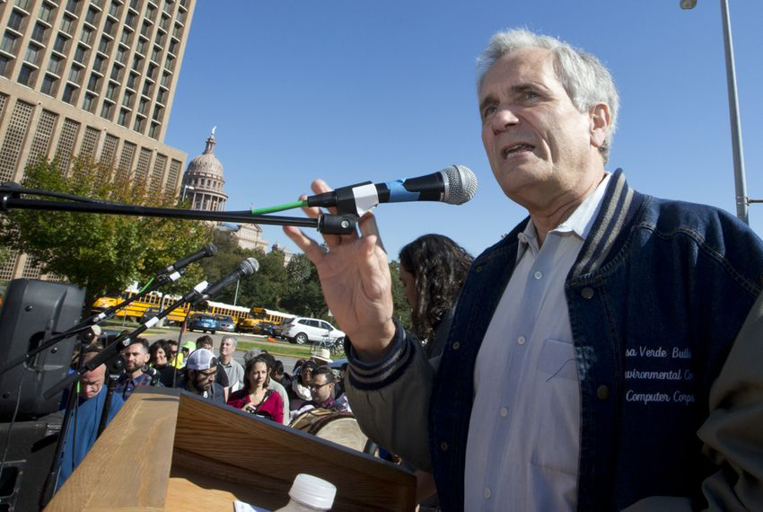Congressman Lloyd Doggett D-Texas speaks to crows during immigration march and protest in Austin, Texas