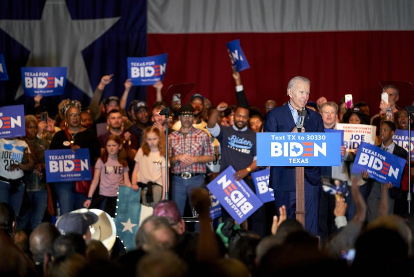 Democratic presidential candidate and former Vice President Joe Biden speaks during a campaign stop in Dallas on March 2, 20…
