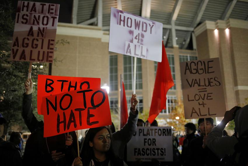 Students at Texas A&M in College Station protest outside the venue where white nationalist Richard Spencer spoke on Decemb...