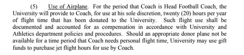 Screenshot of head football coach Thomas Herman's contract with the University of Texas at Austin, for the term beginning De…