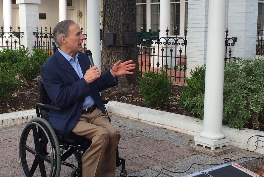 Gov. Greg Abbott addresses tech executives Saturday at the Governor's Mansion. They were in town for Austin's South by Sou...