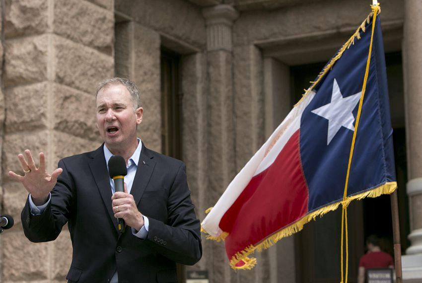 Michael Quinn Sullivan, president and CEO of Empower Texans, speaks during a Tea Party rally on the south steps of the Capitol in Austin.