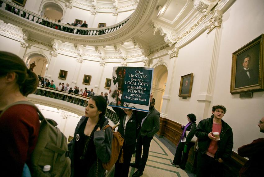 Crowds gathered inside the Texas Capitol when SB 4, the sanctuary cities bill, was considered in the Senate State Affairs Co…