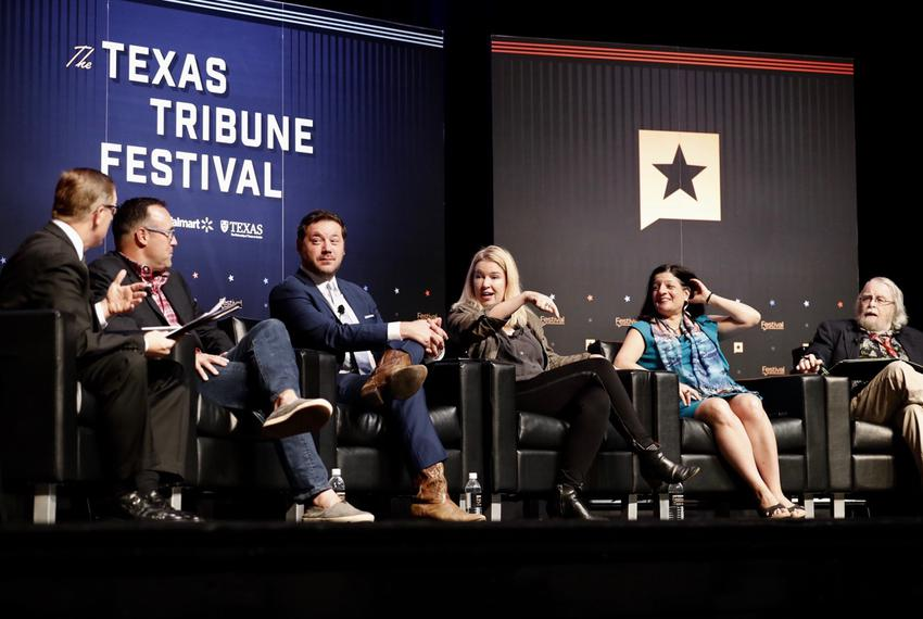 Tribune CEO Evan Smith leads a political roundtable for the closing session of The Texas Tribune Festival on Sunday, Sept. 2…