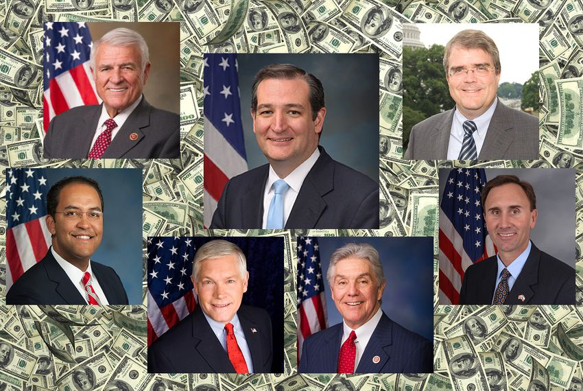 Top row: U.S. Rep. John Carter, U.S. Sen. Ted Cruz and U.S. Rep. John Culberson. Bottom row; U.S. Reps. Will Hurd, Pete Sessions, Roger Williams and Pete Olson.
