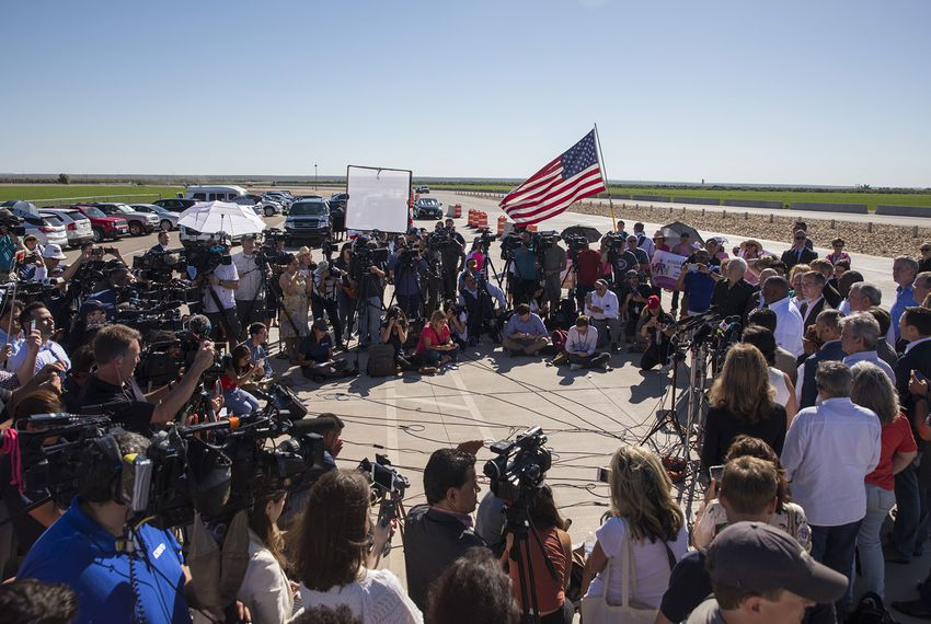 Mayors from around the country speak outside of the tent city erected in Tornillo to house children separated from their parents at the border on Thursday, June 21, 2018.