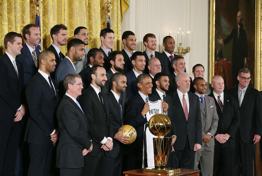 President Obama with the San Antonio Spurs in the East Room of the White House