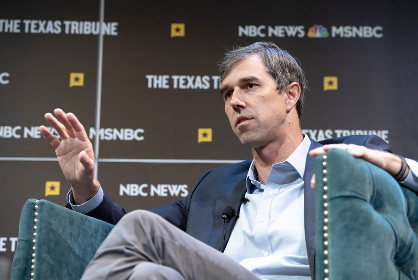 Garrett Haake interviews presidential candidate Beto O'Rourke at The Texas Tribune Festival on Saturday, Sept. 28, 2019.