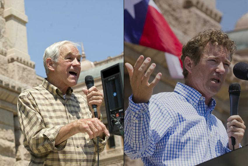 Former U.S. Rep. Ron Paul and son Rand speak at a Tea Party rally at the Texas Capitol on May 6, 2012.