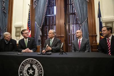 From left: Sen. Paul Bettencourt, R-Houston; Lt. Gov. Dan Patrick; Gov. Greg Abbott; House Speaker Dennis Bonnen, R-Angleton; and Rep. Dustin Burrows, R-Lubbock, speak at a news conference addressing property tax reform.