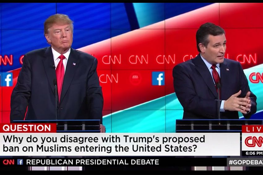 GOP presidential contenders Donald Trump and U.S. Sen. Ted Cruz at the CNN debate in Las Vegas, Nevada on Dec. 15, 2015.