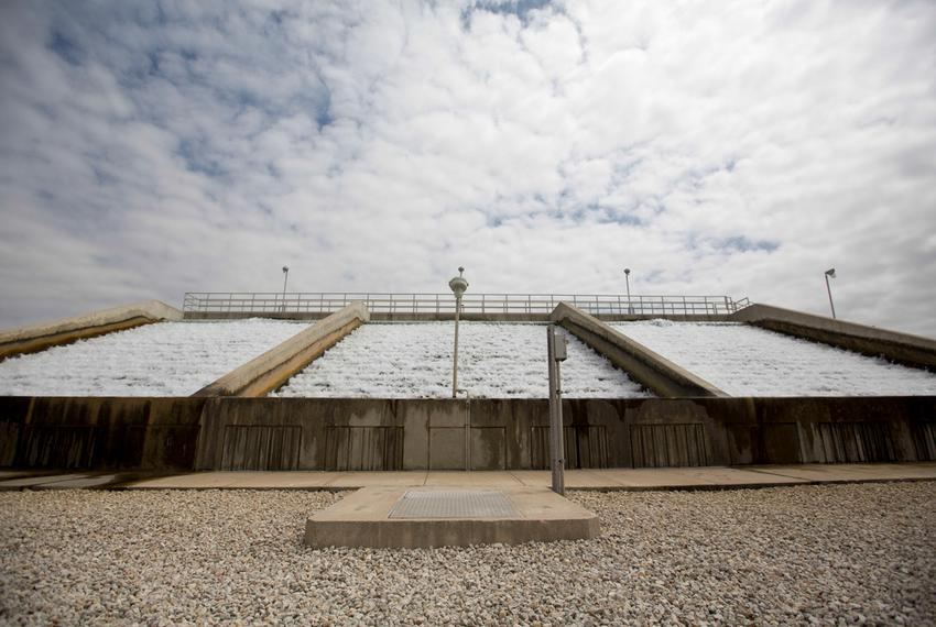 A cascade aerator on the site of the Twin Oaks Valley Water Treatment Plant outside of San Antonio, where the San Antonio ...