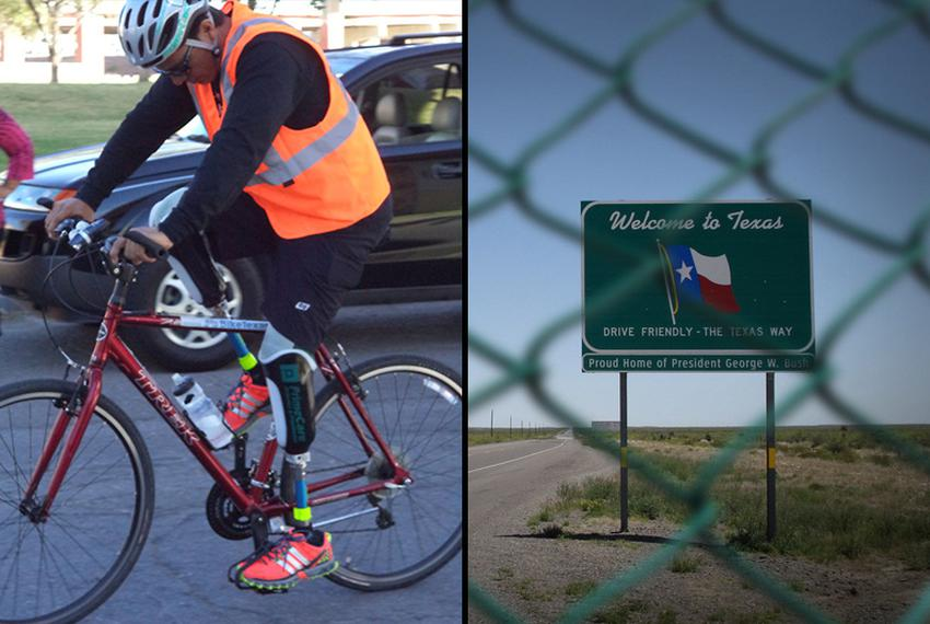 "Carlos Gutierrez, who lives in exile in Texas, embarks on the first segment of his ""Pedaling for Justice"" bike trek that end…"