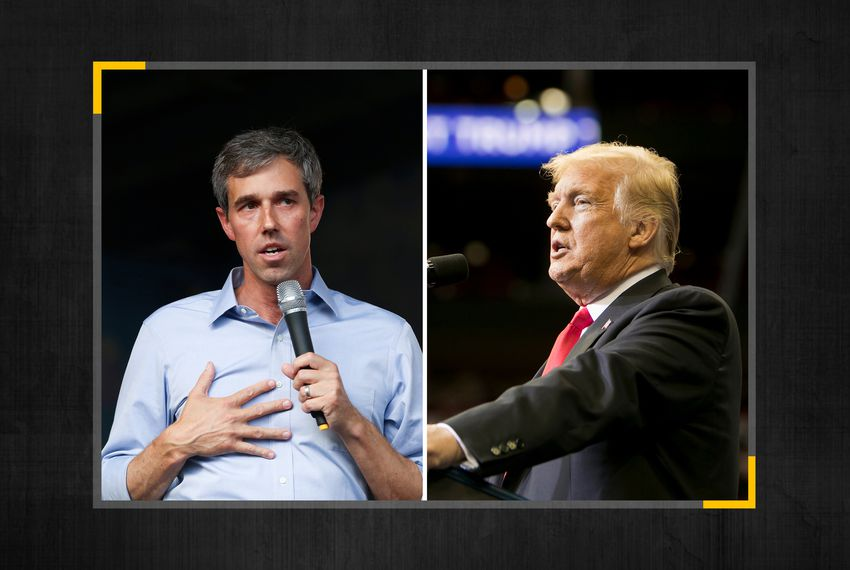 From left, Beto O'Rourke and President Donald Trump.