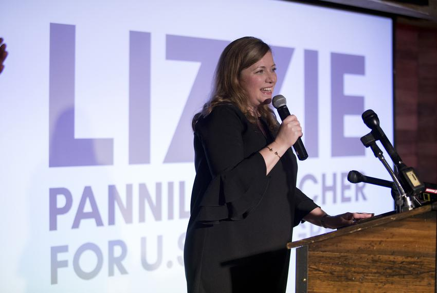 Democrat candidate for U.S. Congress Lizzie Pannill Fletcher takes the stage on Election Night in Houston on Tuesday, Nov....
